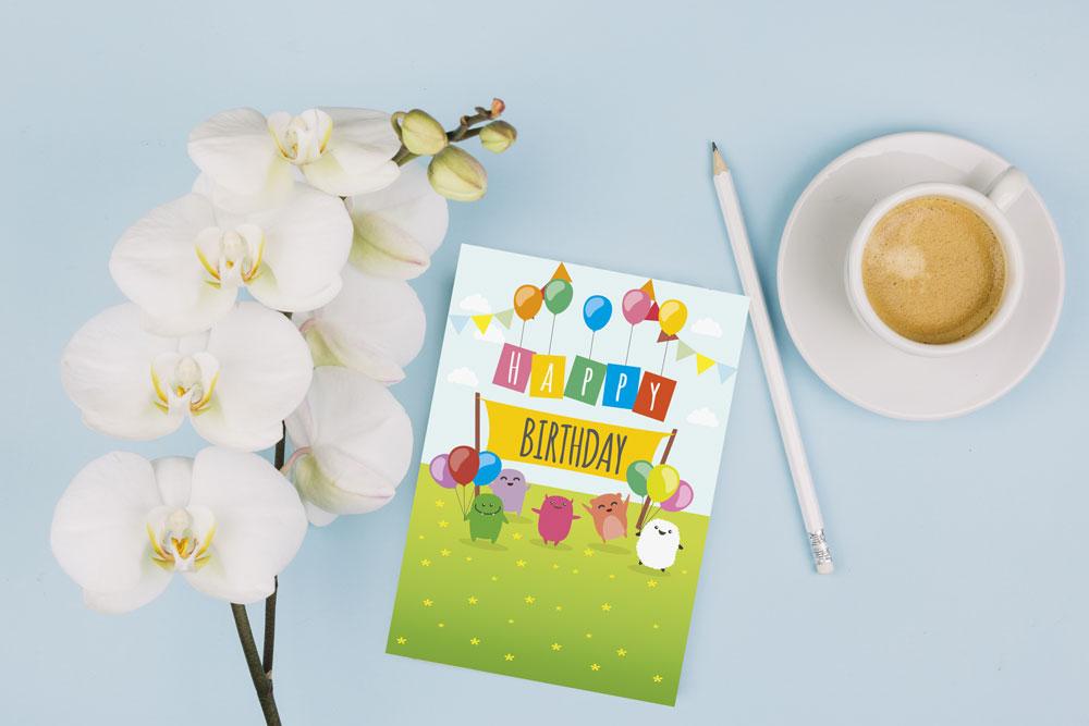 کارت تبریک تولد طرح کودکانه